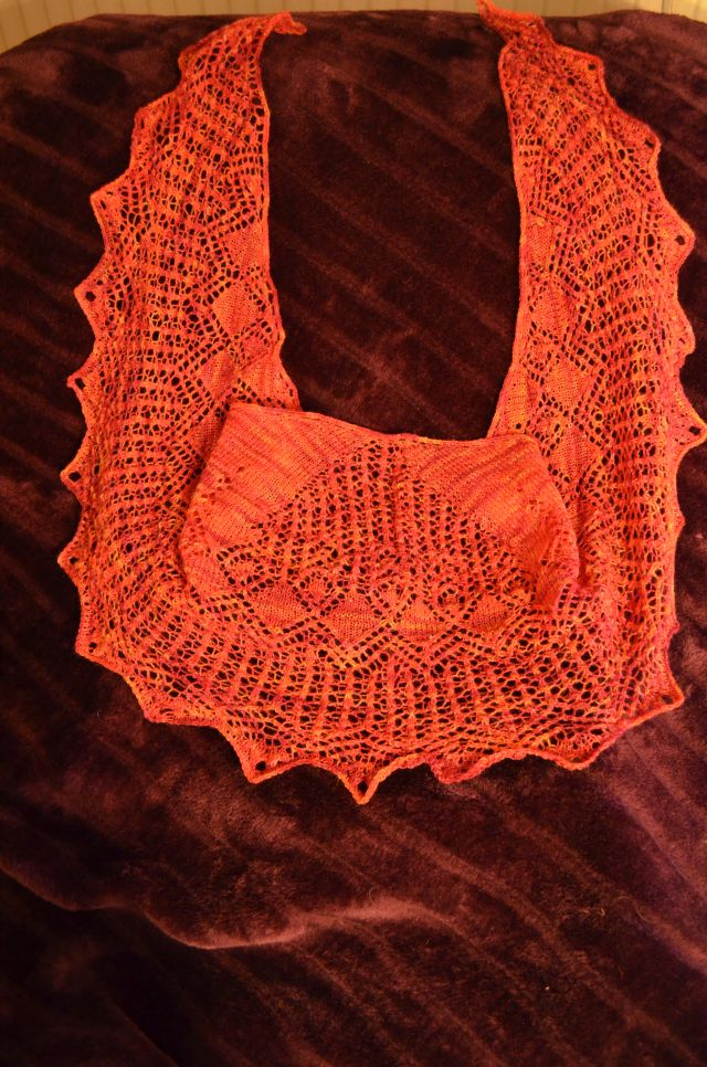 Lace-Shawl red-orange