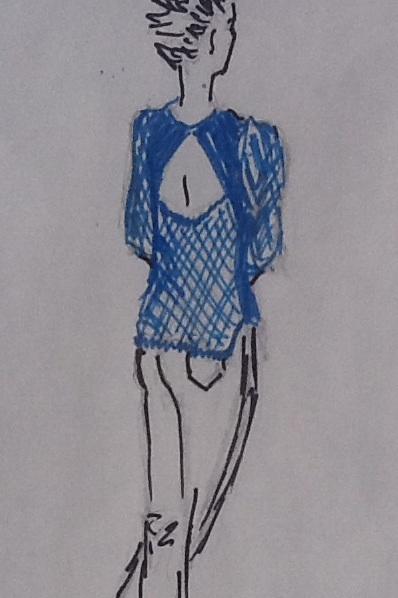 Blue summer top drawn